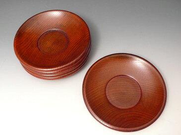 【送料無料】だるま鉄鉢茶托 5枚揃い 4.2寸 木製 漆器 桐箱入り