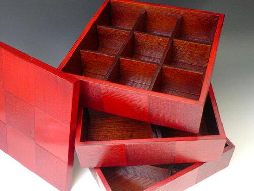 市松三段重箱 おせち重 七寸 三種 仕切りつき 3段 和モダンな重箱 根来 木製漆器...