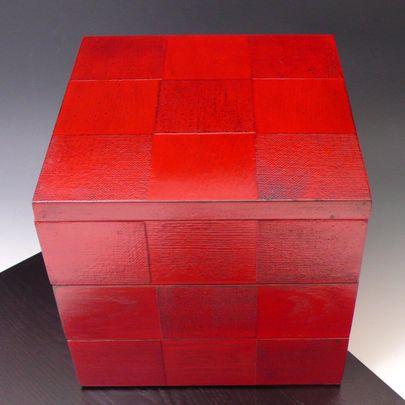 市松 三段重箱 おせち重 七寸 三種 仕切りつき 3段 重箱 根来内朱 木製漆器運動会...