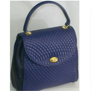 [Used] BALLY Barry Women's Navy Blue Quilted Leather Material Fashionable Handbag Size W22H23H11cm ○ C12-362