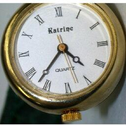【中古】完動美品RATRINEラトゥリーン女性用緑色ベルトの金色ブレスタイプの時計 300308-2