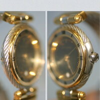 【】本物完動美品フィリップシャリオール女性用コンビのワイヤーブレスの黒文字盤時計電池交換済み1ヶ月の保証付き