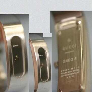 【中古】本物グッチ女性用バングルタイプのシルバ-時計2400S電池交換済み