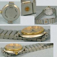 【】本物完動美品ダンヒルのコンビ女性用綺麗な金色文字盤お洒落な時計