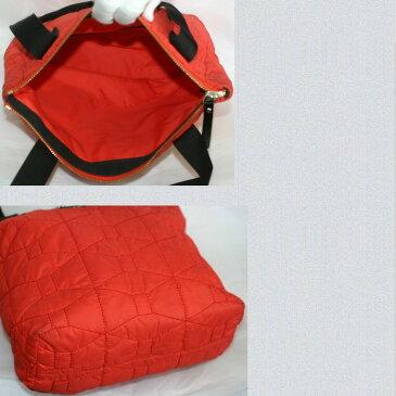 【中古】本物美品ケイトスペード女性用オレンジ色ナイロンキャンバスキルティング素材可愛いトートバッグ サイズW30H23D8cm