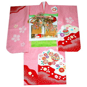 Shichigosan Kimono 7 years old girl full silk kimono full set Hand drawn & hand-painted Yuzen Mari pattern Pink Japanese four-piece set All the necessary things to dress Full set shoulder free sale sale purchase