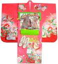 七五三 着物 7歳 女の子 正絹 着物フルセット 蝶柄 ピンク(若干赤み掛かったピンク) 四つ身セット 着付けに必要な物は全て揃った着付け完璧フルセット 肩上げ無料