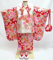 七五三 正絹 着物 3歳 女の子 正絹被布セット 百花繚乱 白 赤 着付けに必要な物は全て揃った着付け完璧フルセット 2021年新作 販売 購入