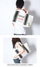 ■DIESELディーゼル男女兼用■本革レザー使いキャンバス生地ロゴトートバッグ鞄【PIONEER】【サイズUNI】【ホワイト】die-m-a-56-4162