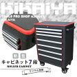 KIKAIYA 新型ローラーキャビネット7段 リンクル塗装 ブラック×レッド ツートン 艶なし ロールキャブ 工具箱(個人宅配達不可)