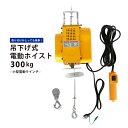 吊り下げ式電動ホイスト 300kg 小型 電動ウインチ ウィンチ KIKAIYA