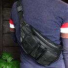 【本革】ラムレザーボディバッグ11006ブラック黒ウエストバッグ・ヒップバッグ軽量お散歩や旅行にも便利!メンズボディーバッグ・かばん鞄bag【楽ギフ_包装】【05P17Aug11】