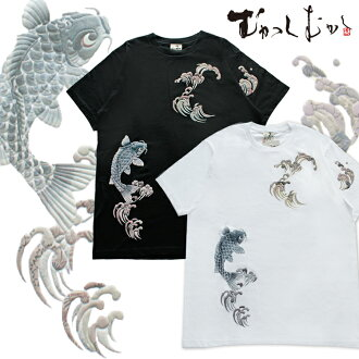 Most popular pattern back in stock! Pine was properly worn by famous brand ☆ once upon a time ☆ Japanese pattern t-shirt ☆ ripening carp ☆ Black / Black