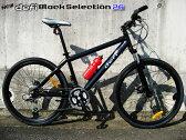 【クロスバイク★軽量アルミフレーム26インチ】 シマノ製使用!軽量アルミフレームFRディスク/Fサス BLACK26