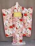 振袖花ひめ襦袢付き振袖ピンク色仕立上り古典柄振袖と長襦袢のセットポリエステル送料無料D2361-02