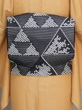 正絹夏の袋帯日本製西陣織夏の袋帯夏の着物用袋帯お仕立済の夏袋帯黒色の帯E7464-04