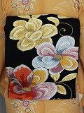 振袖用帯袋帯正絹の帯成人式フォーマル帯黒地に金色糸柄送料無料S2522