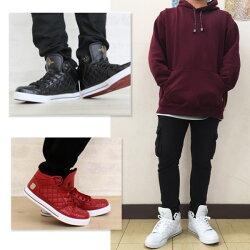 スニーカーメンズスニーカーハイカットスニーカーキルティングスニーカーホワイトスニーカーダンス用にも使えるスニーカータウンスニーカー白赤黒茶ホワイトレッドブラックキャメル靴XSTREET14082