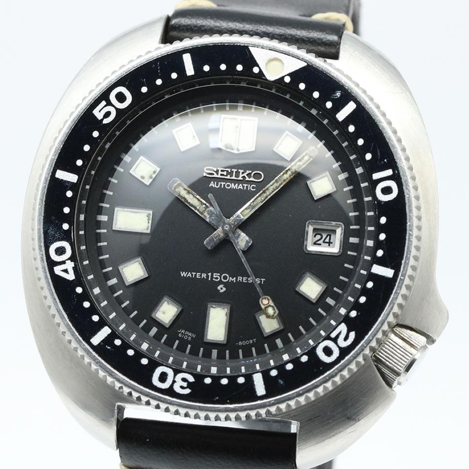 腕時計, メンズ腕時計 1974 Seiko second diver 6105-8110 Uemura model 150 meters late-type CAL.6105B ANTIQUE VINTAGE 150m 2nd 6105-8110