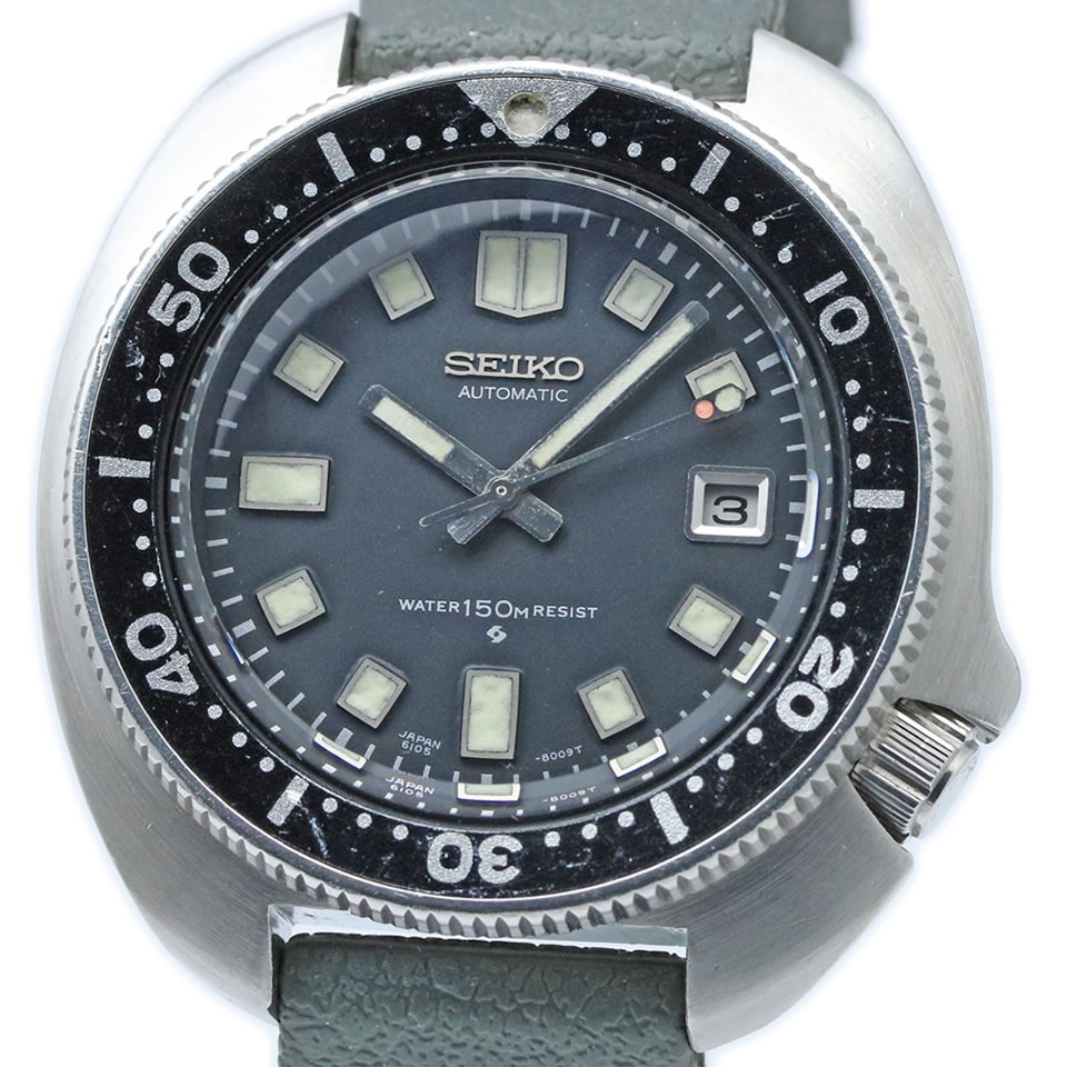 腕時計, メンズ腕時計 1972 Seiko second diver 6105-8110 Uemura model 150 meters late-type 44.5mm ANTIQUE VINTAGE 150m 2nd 6105-8110