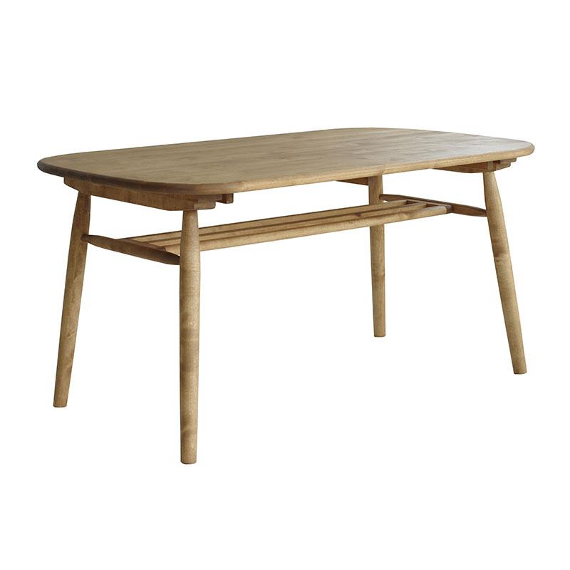 アンジー ロジー ダイニングテーブル /and g カントリー家具 バーチ材 食卓 生活に馴染む 愛着がどんどん沸く ナチュラル家具 アンジー 角の丸みがやさしい雰囲気のダイニングテーブル 天板下に棚板付き