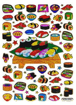 【メール便発送OK!】当店で大人気!!メタリックシール☆-お寿司屋さん☆-【シール】【おもちゃ】【激安】【プレゼント】【おもしろ】【食べ物】
