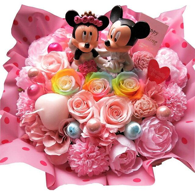 產品詳細資料,日本Yahoo代標|日本代購|日本批發-ibuy99|結婚記念日 プレゼント 花 ミッキー ミニー タキシード ドレス フィギュア レインボーローズ入り…