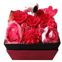 送別会 送別用 スヌーピー 花 プレゼント 箱を開けてサプライズ スヌーピーマスコット入り ボックス プリザーブドフラワー 赤系 ◆スヌーピーマスコットカラーはお任せとなります