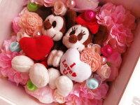 結婚祝いミッキーミニーぬいぐるみ花プリザーブドフラワー入り壁掛け【L】チップデール◆結婚祝いプレゼント・記念日の贈り物におすすめのフラワーギフト