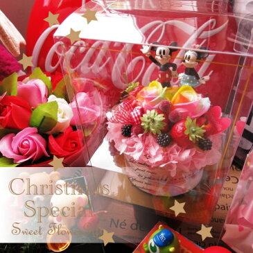 クリスマスプレゼント ディズニー ミッキー ミニー入り 花 フラワーギフト フラワーケーキ レインボーローズ プリザーブドフラワー入り ケース付き ノーマル ミッキー ミニー◆記念日の贈り物におすすめのフラワーギフト