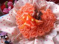 ミッキーミニー入り花ハートフラワーギフトハートプリザーブドフラワーオレンジ