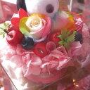 誕生日プレゼント スヌーピー入り 花束風ギフト レインボーローズ プリザーブドフラワー ケーキ プリザーブドフラワー ケース付き スヌーピーカラーはお任せ◆誕生日プレゼント・記念日の贈り物におすすめのフラワーギフト