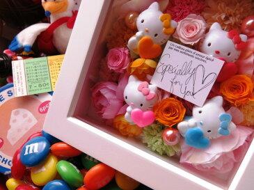 誕生日プレゼント キティ マスコット入り 花 プリザーブドフラワー入り 壁掛け カラフルフラワー