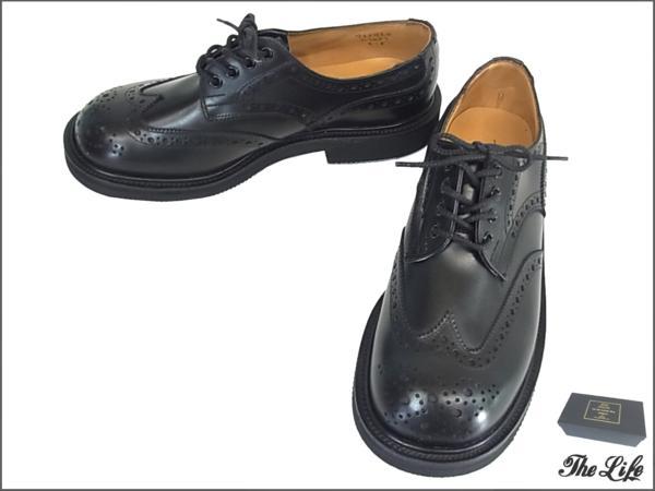 【中古/未使用/新古品】Quilp byトリッカーズM7457 Derby Brogue Shoeシューズ8(UK8/26.5センチ程度・FITTING 5)/ブラック/Tricker's/Aniline Calf/店頭展示品/外箱:ブランド古着 ライフ