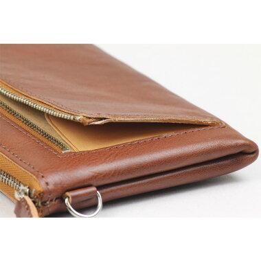 【スマホが入る小さいバッグ】スマホとお金とカードそれだけ入れる外ポケット付きL字ファスナー薄型長財布ロングウォレットレザーケースイタリアンレザークラッチバッグiPhonegalaxyleathersmallbag丈夫長持ちLファスナースマポ財布