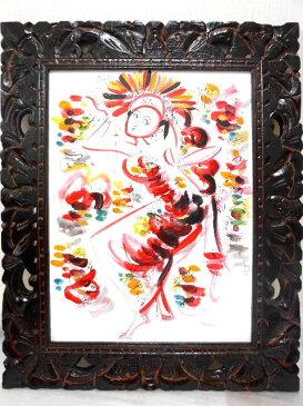 ■送料無料■バリ絵画■バリニーズ■ピンク■40x30cm■透かし彫りフレーム■LG253■BALI■【smtb-TD】