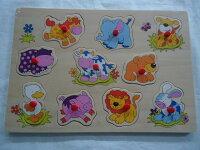 幼児向知育玩具ノブ付き木製パズルベビーアニマルズ10ピース対象年齢3歳以上★新品★1710