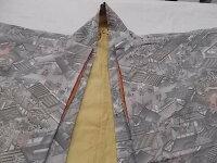 K-4古着着物グレー系マルチカラー総絵柄しつけ糸付女性用和服後身丈約154cm併190809