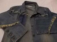 古着レディースRETONEデニムデザインジャケットフリンジ他装飾付Gジャン一部隠しボタンインディゴFサイズBF-20★併190823