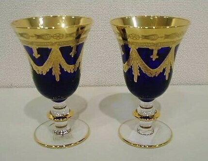 イタリア製 輸入雑貨 ワイングラス ペア セット ブルー 青 金 リビングスタジオ 直輸入 インターグラス Interglass エッチング ベネチア HKT-095B