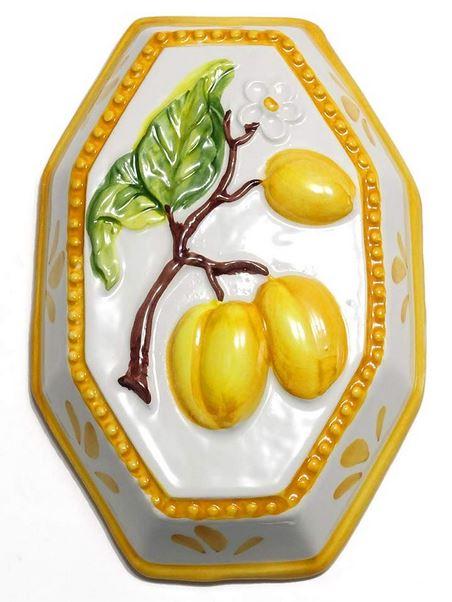 イタリア製 輸入雑貨 壁飾り 洋ナシ 陶器 リビングスタジオ 直輸入 壁掛け ペア 黄色 風水 八角形 バッサーノ ハンドメイド BRE-195L-PR