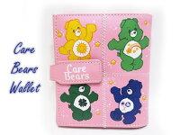 送料無料★ケアベア二つ折り財布ウォレットコインケース■ピンク■ビニール素材■CAREBEARS■女の子くまキャラクター雑貨グッズスナップボタン