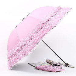 コンパクトレース折りたたみ日傘レース手提げ付きUVカット遮光撥水無地晴雨兼用