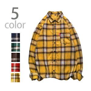【送料無料】チェック シャツネルシャツ メンズ トップス オーバーサイズ ビッグサイズ 大きいサイズ ゆったり 長袖 綿 カジュアル アメカジ チェック柄 かっこいい おしゃれ 緑 赤 黄色 青 グリーン レッド イエロー ブルー コーヒー 秋 冬 M L XL 2XL 3XL 4XL 5XL