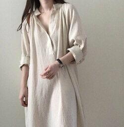 送料無料シャツワンピース綿100%シャツワンピース7分袖ゆったりふんわり長袖レディースシフォンロング丈白ホワイトかわいいおしゃれ