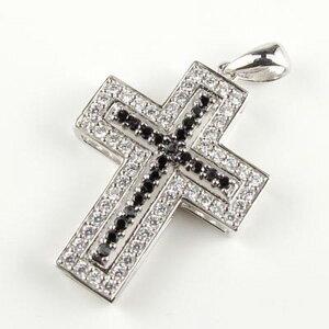 ブラックダイヤモンド ネックレス ペンダント レディース アンティーク ダブル ゴージャス クロス 十字架 プラチナ pt900 0.7カラット