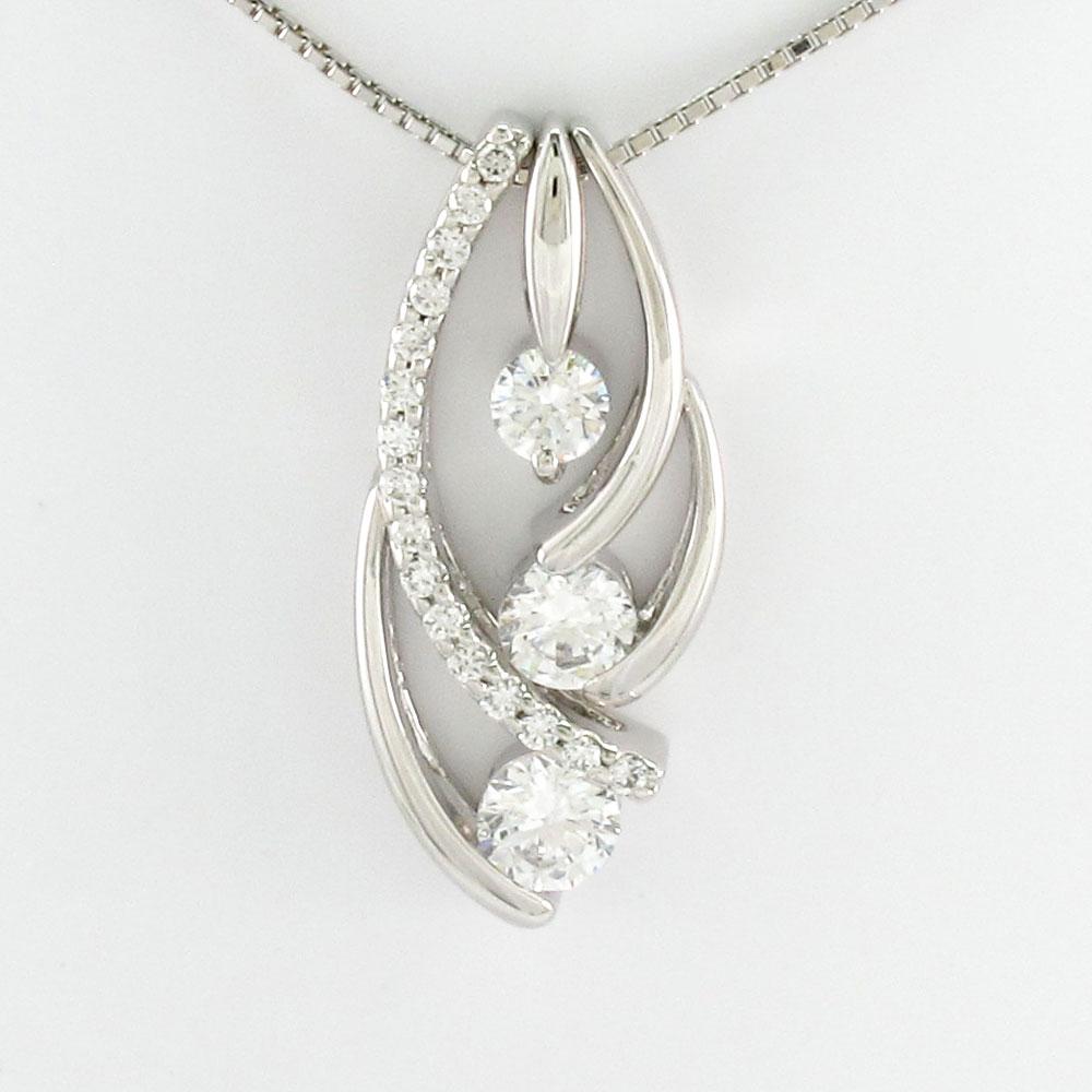 ダイヤモンド ネックレス ペンダント レディース セパレート トリロジー ゴージャス プラチナ pt900 0.7カラット