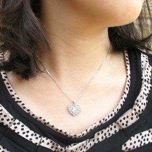 【10%OFF】ハート ネックレス ダイヤ ペンダント レディース ダイヤモンド アンティーク 透かし 格子 重ね ゴールド k18 18k 18金