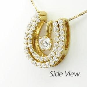 【10%OFF】ダイヤモンド ネックレス 一粒 18k ペンダント レディース 馬蹄 ホースシュー 1粒 プチ 0.7カラット ゴールド k18 18金