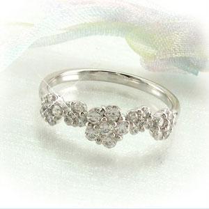 リング プラチナ ダイヤモンド 指輪 レディース フラワー モチーフ 花 プラチナ 0.5カラット
